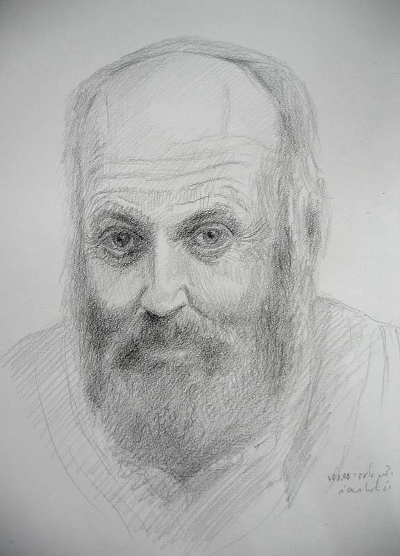 """יצחק גלעדי, דיוקן עצמי 35X25 ס""""מ, עפרון, אוסף האמן"""