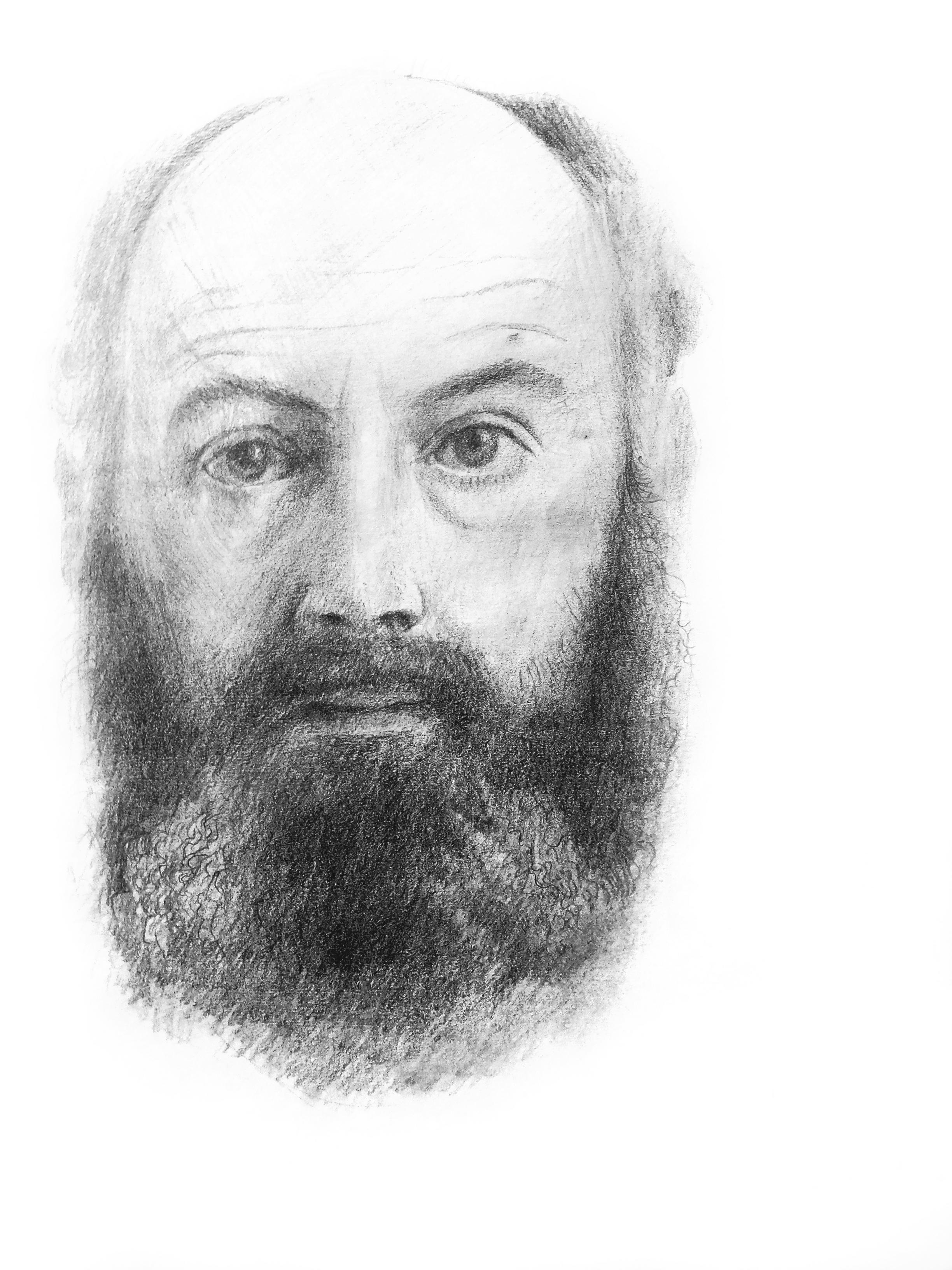 """יצחק גלעדי ,דיוקן עצמי, עפרון על נייר,35X40 ס""""מ, אוסף האמן"""